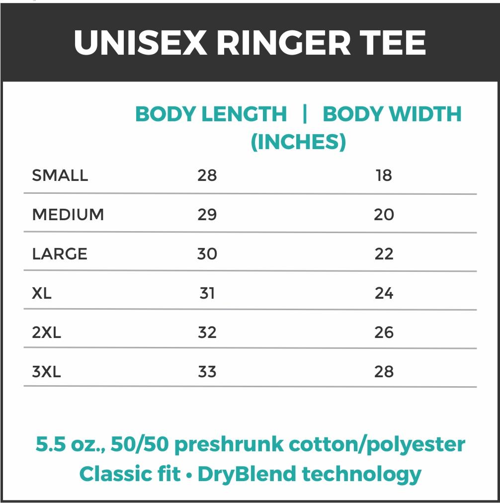 Ringer Tee Size Chart